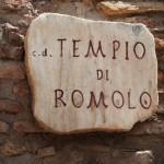 Hinweisschild auf einen antiken römischen Tempel