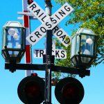Signalschild einer Eisenbahnkreuzung in Amelia Island (Florida)