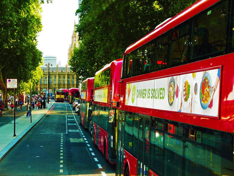 Typische Londoner Stadtbusse